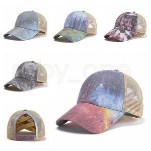 Criss Cross Ponytail Baseball Hats Tie-dye Trucker Pony Caps Unisex Visor Outdoor Snapbacks Women Headgear RRA4273