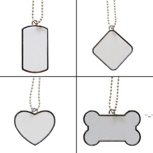 Blank Sublimation Stainless Steel Chain Dog Tag Necklace Heat Thermal Transfer DIY Printing Pet ID Card Smooth Metal Pendant Gift OWC7262