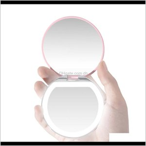 Mirrors Décor Home Garden Drop Delivery 2021 Led Light Mini Makeup Compact Pocket Face Lip Cosmetic Travel Portable Lighting Mirror 3X Magnif