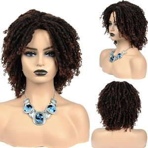 Synthetic Wigs Goddess Faux Locs Crochet Braids Ombre Curly Braided Wig Long Dreadlocks Hair For Afro Women