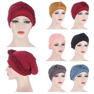 India mujeres señoras musulmanas pérdida de cabello estiramiento turbante gorras cáncer quimio sombrero color sólido color trenzado casquillo bonete islámica cubierta