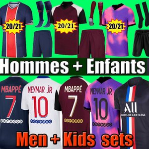20 21 maillot de football MBAPPE NEYMAR JR VERRATTI 2020 2021 MARQUINHOS KIMPEMBE PSG maillots de football kit enfants