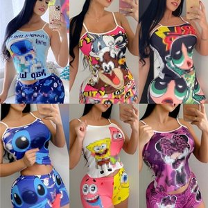 2021 Women Designer Clothing Summer Colorful Two-piece sets Slim Cartoon Printed Vest and shorts Fashion Suit The New Arrivals Listing