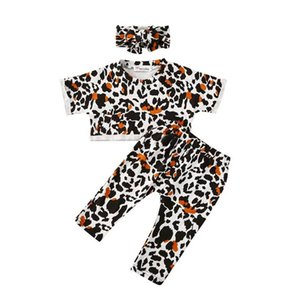 Kids Clothing Sets Girls Outfits Baby Clothes Child Suit Summer Cotton Leopard Short Sleeve T-shirts Pants Headbands 3Pcs 1-3T B4948