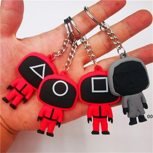 Newest PVC Push Fidget Toy Sensory Squeeze Decompression Toys Squid Game Keychain LLA9258