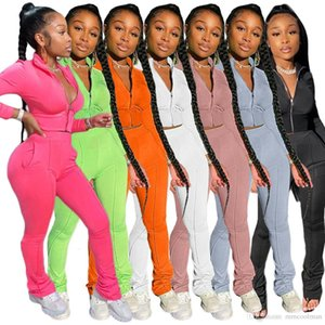 Women Tracksuit Two Piece Set Solid Color Casual T Shirt Long Pants Designer Ladies Fashion Jogging Sport Clothing Surprise price DHL