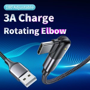 1.2M USB Type C Cell Phone Cables 180 Degree Rotating Data Sync Metal Charging Strong Braided 3A High Current Gaming Charge Cable