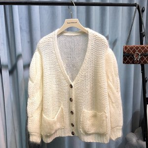 Ouyang Nana same knitted sweater Mohair lady gentle lady Plush warm glutinous lantern sleeve cardigan