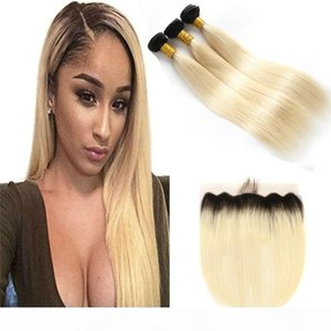 Brazilian Blonde Ombre Hair With Lace Frontal Closure 13x4 Straight 1B 613 Two Tone Colored Brazilian Human Hair 3 Bundles With Frontals