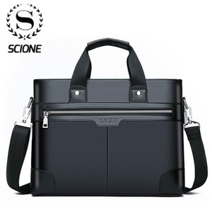 SCISE PU Hombro Moda Business Bolsos Bolsos Hombres negros para Documento Cuero Portátil Portátil Bolsa Q0112