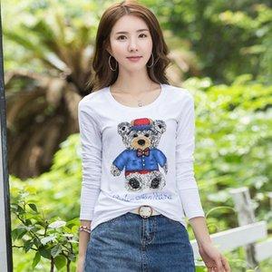 New Spring Long Sleeves Women's Cotton T-shirt Women's Autumn Channel Tees Tops Winter Office Lady Sequins Cartoon 3D t shirt Tank Tops