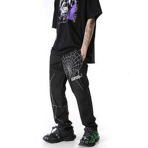 Calças Harajuku Spider Web Fronteira Trabalho Casual Homens e Mulheres Loose Beam Baggy Track Broek Streetwear Oversized
