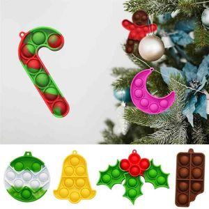 Rainbow 9pcs set Christmas Halloween Children's Fidget Toys Key Chain Poppers Xmas Tree Pendant Tie Dye Decompression Toy Desktop Educational Toy G97GTRN