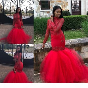 New Black Girls African Red Mermaid Prom Dresses 2019 Long Sleeves Beads Appliques High Neck Tiered Floor Length Plus Size Evening Gowns