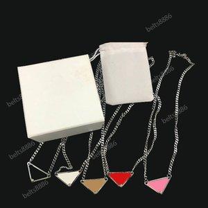 الهيب هوب المجوهرات خيوط القلائد رائع مقلوب مثلث الفضة سلسلة أزياء للرجال والنساء 5 لون اختياري مع مربع