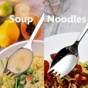 Stainless Steel Fork Spoon Integration Creative Dinnerware Salad Soup Spoon Noodles Fruit Fork Kitchen Tableware Multifunctional Spoon