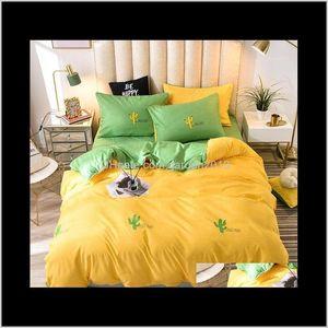 Bedding Set Queen Size Green Leaf Linen Sets Double Bed Cover Sheet Pillowcase Bedclothes Single Set1 Pgufb Keasz