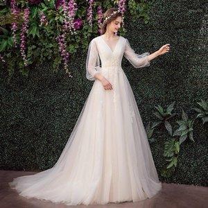 Other Wedding Dresses KAUNISSINA Vestidos De Noiva Elegant V-Neck A-Line Sweep Train Dress Princess Appliques Tulle Gowns For Bride1