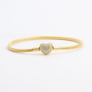 18 carats en or jaune plaqué or cz diamant coeur bracelets d'origine pour pandora 925 argent serpent bracelet bracelet femmes mariages bijoux eedg