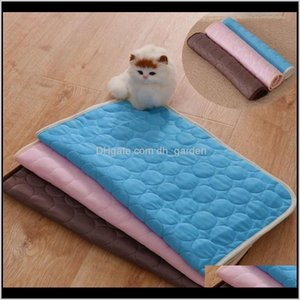 Cat Beds Furniture Summer Cooling Blanket Dog Bed Sofa Portable Tour Camping Yoga Sleeping Cooler Mats For Dogs Cats Pet Ice Silk Mat 5Lwed