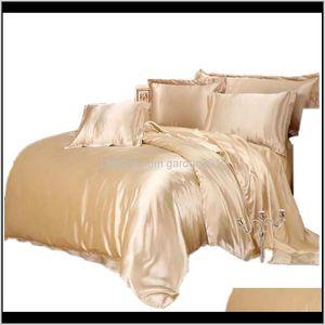 Luxury Satin Silk Bedding Sets Duvet Cover Flat Fitted Sheet Twin Full Queen King Size 4Pcs6Pcs Linen Set Black 100Golden 48 Ababr G9Jqu