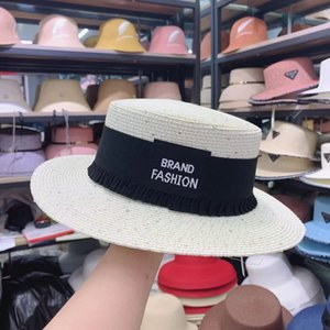 South straw hat children's travel in spring and summer sunshade sunscreen British flat top Sequin celebrity wind Beach Hat tide