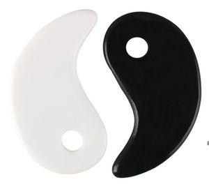Blanco Negro Gua Sha Masaje Real Natural Jade Stone Tai Ji Forma para raspar Facial y Cuerpo SpA Spa Levantamiento de la circulación sanguínea DHE5767