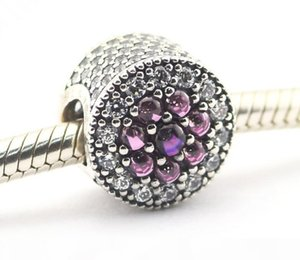 pandora Shimmering Droplets Silver Beads with Purple CZ charms 925 sterling silver loose beads for thread bracelet fashon jewelry authentic