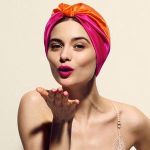 12 adet Saten Ipek Çizgili Uyku Kap Beanie Şapka Elastik Gece Şapkalar Türban Karışık Renk kadın Doğal Kafa Kapak Bonnet Saç Bakımı için