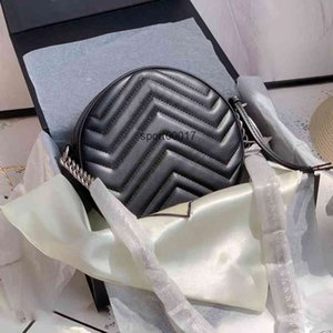 Messenger Marmont Round mini Bag Fashion Ladies Handbags Real Leather Women Shoulder Bags Black Blue 5 Colors with Box