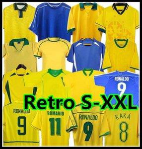 1998 2002 Retro Brasil Fussball Jerseys Hemden Carlos Romario Ronaldo Ronaldinho 2004 Camisa de Futebol 1994 Brasilien 2006 1982 Rivaldo Adriano Pele