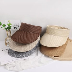 Wide Brim Hats 2021 Summer Women Straw Hat Empty Top Caps Sun Protection Outdoor Sports Fishing Beach Chapeau For Traval Wear