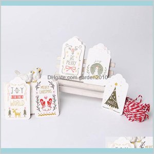 Christmas Decorations Festive & Party Supplies Home Garden 50Pcs Lot Merry Diy Unique Gift Holly Tags Jolly Tag Small Card Optional St