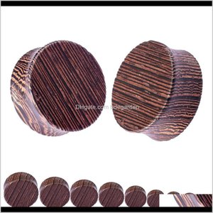 2Pcs Fashion Flesh Tunnels Ear Plugs Big Gauge Piercing Expander Brown Bubinga Rose Wood 8Mm 20Mm Pircing Body Jewelry For Men 18Rrf Xolfy