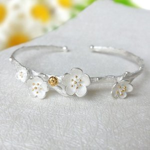 Bangle YJ Fashion Opening Creative Plum Blossom Female Bracelet Personality Sweet Literary Cherry Jewelry Gift
