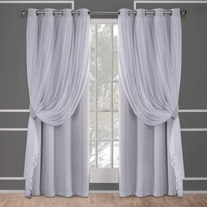 Blackout Curtins ForBedroom With White Sheer ,Pink Black Free Punching Nordic Minimalist Window Curtain Living Room Curtains & Drapes