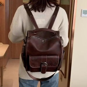 Backpack Style Luxury Women Vintage Travel PU Leather Large Capacity Bookbag High Quality School Bags For Teenage Girls