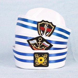 Adultos niños marineros fiesta cosplay gorras militares blanco marina marina capitán gorra con ancla mar navegación náutico niños aango ancho