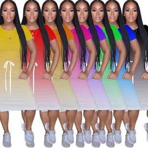 Wy6676 women's fashion casual round neck gradient multicolor hem split dressTEJQ