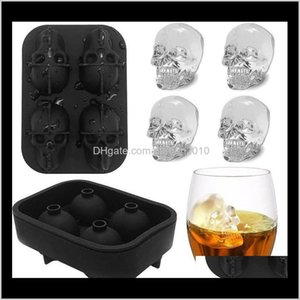 Tools Cavity Head 3D Mold Skeleton Skull Form Cocktail Ice Sile Cube Tray Bar Accessories Candy Mould Wine Coolers Eea2249 Cw87F Zdgrj
