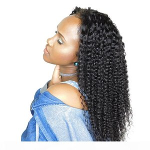 150% Density Brazilian Remy Hair 360 full lace human hair wigs Pre Plucked natural color T1B kinky curly human hair Wig