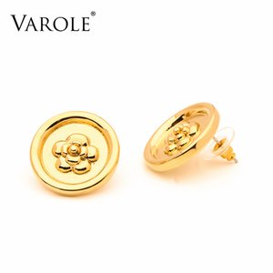 VAROLE Flowers Round Stud Earring For Women Gold Color Earings 2021 Holiday Fashion Jewelry Pendientes