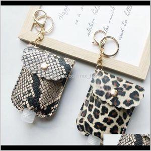 Pu Leather Sanitizer Keychain Bag With 30Ml Leopard Hand Soap Bottle Holder Key Ring Pendants Party Favor Chfpr R4Rbn