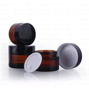 Brown Amber Glass Cream bottle Jar Black Lid 515 30 50 100G Cosmetic Packaging Sample Eye