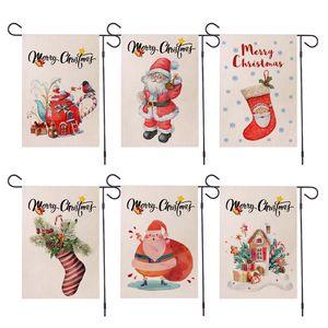 Keten Noel Bahçe Bayrağı Santa Çorap Çift Taraflı Baskı Merry Christmas Banner Bayrakları