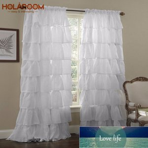 White Blinds Rod Curtain Tulle Multi-layered Lace Curtains for Bedroom Window Solid Color Blackout Curtain Home Use Cortinas