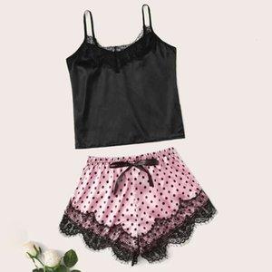 Llyge encaje patchwork sexy lencería conjunto mujeres lunares imprimir arco erótico lejanies hembra 2020 verano dulce damas ropa interior ropa interior