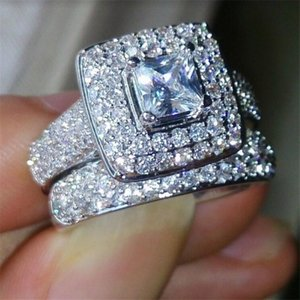 Rulalei 134PCS Pave White Sapphire Womne Wedding Couple Rings Luxury Jewelry 925 Sterling Silver Princess Zircon Eternity Engagement Bridal Ring Set Gift