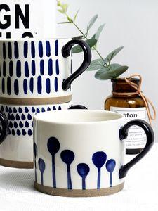 Drinkware Blue hand painted creative mug oatmeal coffee Nordic style milk water ceramic cup