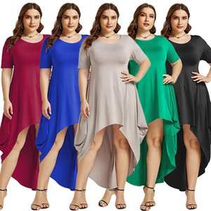 Summer new style irregular loose skirt solid color round neck loose dress